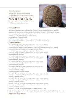 Nice & Knit Beanie: Free Hat Pattern – Knitting patterns, knitting designs, knitting for beginners. Bonnet Crochet, Knit Or Crochet, Crochet Hats, Crochet Pattern, Free Pattern, Cast On Knitting, Easy Knitting, Knitting Yarn, Charity Knitting