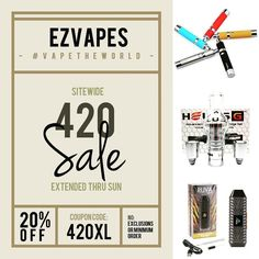 #420 #sale extended thru Sunday April 23rd ... Get 20% off sitewide with no minimum or exclusions when you use coupon code 420XL at checkout or by phone. Visit ezvapes.com or call 855-EZVAPES to order. #ezvapes #vapetheworld #ezvape
