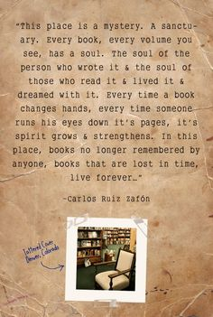 Carlos Ruiz Zafon speaking of the cemetery of forgotten books