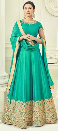 498544: Green color family semi-stiched Anarkali Suits .