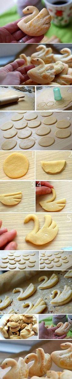 """FIND EASY COOKIES Make theese lovely swans of a good buttery cookie-dough with pearlsugar sprinkled on top. Complements a cup of Tea, a glas of milk or a mug of coffee. c"""",) Enjoy! Biscuit Cookies, Cake Cookies, Cupcake Cakes, Cookie Dough, Cupcakes, Cookie Recipes, Dessert Recipes, Snacks, Food Humor"""