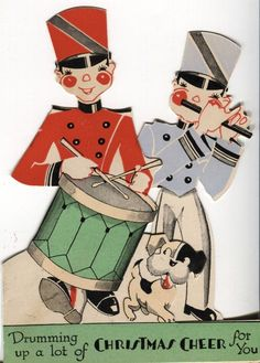 1930s Vintage Art Deco Christmas Card: Die Cut Toy Soldiers with Dog and Drum