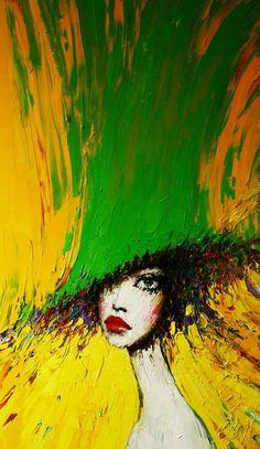 "Taras Loboda Original Oil Lady in the Green Hat"""