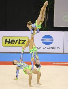 Richmond Senior trio come second in Acrobatic World Cup Maia 2014. My daughter is in the middle. Combined final routine.