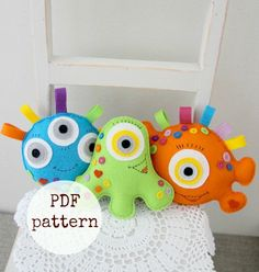 3 Happy monsters toy PDF sewing pattern, toys for boys