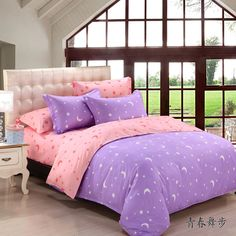 Twin/Queen/king size comfortable Velvet Sanding fabric Moon&Star  Adult bedding sets Purple/Pink color-in Bedding Sets from Home & Garden on Aliexpress.com | Alibaba Group