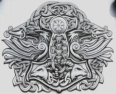 Thor and two ravens tattoo                                                                                                                                                                                 Mais