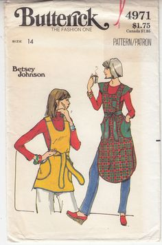 Betsy Johnson Misses Tunic Loose Fit 2 Lengths Vtg Butterick Pattern 4971 Sz 14 Tunic Sewing Patterns, Costume Patterns, Vintage Sewing Patterns, Clothes Patterns, Dress Patterns, Mens Vampire Costume, Apron Dress, Normal Wear And Tear, Boho