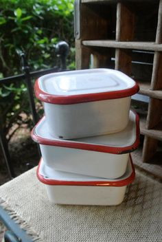 Vintage MEMCO Porcelain Enamelware Set of Three Containers, White with Red Trim via Etsy