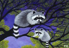 ACEO Print Raccoon Baby Tree | eBay