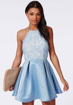 You won't believe the dresses that British brand Missguided.com stocks for under $100, including a large selection of plus sizes. Plus, the site updates so often that there's a good chance no one else will have your dress. Blue Homecoming Dresses, Hoco Dresses, Prom Dresses Online, Cheap Prom Dresses, Dance Dresses, Skater Dresses, Inexpensive Homecoming Dresses, Blue Dresses, Graduation Dresses