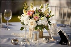 Centrepieces - pastel shades- pinks/ lavenders/ whites