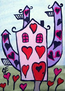 """""""The Valentine House""""  Original Painting Artist Trading Card"""