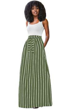 1c621948a9 Olive Green Striped Maxi Skirt Faldas Maxi A Rayas