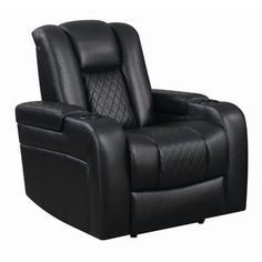 Delangelo Power Motion Black Recliner - Coaster your feet up with ease in this power motion recliner from the Delangelo Collection. Upholstered in a black breathable faux leather, this recliner features a quilt pattern on the seats and lower b
