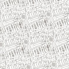 Hi-res stock vector Spring garden pattern backdrop,linear background.Hand drawn vector sketch elements. Discover the amazing world of our 50.000 photographers & graphic designers worldwide.