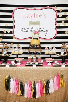 Stunning dessert table at a Kate Spade pool birthday party! See more party ideas at CatchMyParty.com!