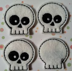 White and Black Skull Felties, Hair Bow Centers, Scrapbooking, Felt Applique, Great for Halloween. $3.20, via Etsy.