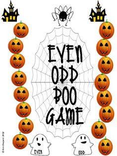 Free/Reinforce even/odd skills. Even/Odd Boo Game for Fall/Halloween Fun Math, Math Games, Math Activities, Maths, Dice Games, Math Classroom, Kindergarten Math, Teaching Math, Teaching Resources
