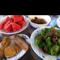 Khmer food salted fish with watermelon yes watermelon haha my mama be on this stir fry bell pep and beef an some otha condiments