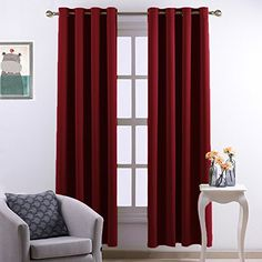 Nicetown Home Decorations Thermal Insulated Grommet Top Blackout Living Room Curtains  Drape for Summer One Pair52 x 84InchRed ** Click image to review more details. (This is an Amazon Affiliate link and I receive a commission for the sales)