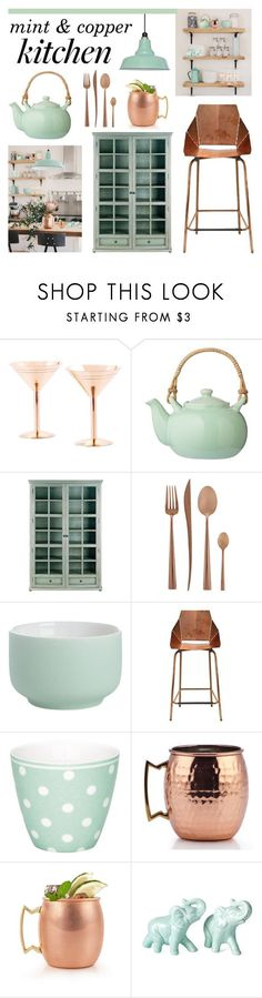 mint  copper kitchen by lgb321 ❤ liked on Polyvore featuring interior, interiors, interior design, home, home decor, interior decorating, Old Dutch, Bloomingville, Currey  Company and Cutipol