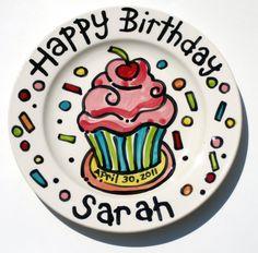 KILN FIRED Happy Birthday cherry cupcake personalized Plate custom ceramic.
