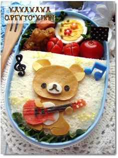 playing rilakkuma sandwich bento