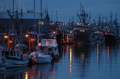 The fishing pier and harbour at night in Campbell River.