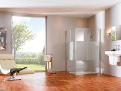 Hüppe Design pure Schwingfalttür Glas privatima / silber matt 510971087373