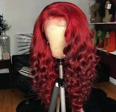 FPC Ombre Human Hair Wig Preplucked With Baby Hair Brazilian Remy Hair Glueless Red Lace Front Human Hair Wigs For Women Baddie Hairstyles, Weave Hairstyles, Hair Colorful, Curly Hair Styles, Natural Hair Styles, Colored Wigs, Colored Hair, Birthday Hair, Human Hair Lace Wigs