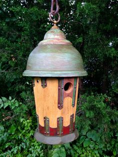 The Dome: An Arts and Crafts birdhouse handmade by Roundhouse Works from recycled barn wood, tin roofing, a vintage lamp shade, brass lamp canopy and drawer pull.