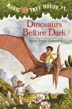 Dinosaurs Before Dark (Magic Tree House Series by Mary Pope Osborne, illustrated by Salvatore Murdocca. (Fantasy/Science Fiction list) Find this and others in the series under jSeries: Magic Tree House. Books For Boys, Childrens Books, The Book, Book 1, Book Title, Mary Pope Osborne, Good Books, Books To Read, Amazing Books
