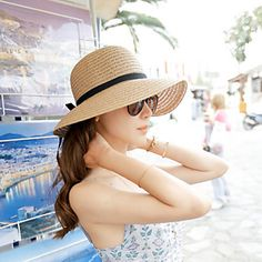 Women's Solid Beige/Light Brown Straw Hat,Beach/Casual Belt Decorated 2016 - $5.99