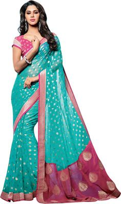 Buy Vishal Polka Print Embellished Brasso Sari Online at Best Offer Prices @ Rs. 3,970/- In India.