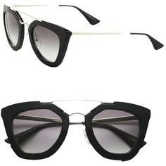 Pre-owned Cinema Cat Eye Double-bridge Sunglasses Black/light Grey... ($370) ❤ liked on Polyvore featuring accessories, eyewear, sunglasses, prada eyewear, thick lens glasses, prada, cateye sunglasses and lens glasses