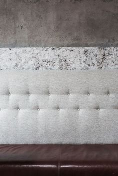 Stone, leather, concrete and soft furnishings.