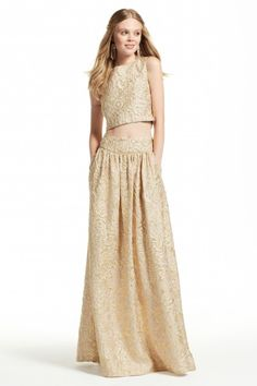 Metallic Jacquard Maxi Skirt and Crop Top