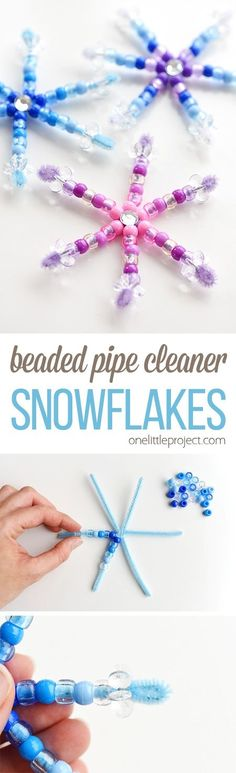 Beaded Pipe Cleaner Snowflakes is part of Christmas crafts For Infants - These beaded pipe cleaner snowflakes are SO SIMPLE and they look adorable! This is such an awesome low mess craft for winter, or even Christmas ornaments! Christmas Activities, Christmas Crafts For Kids, Craft Activities, Christmas Fun, Holiday Crafts, Holiday Fun, Christmas Ornaments, Preschool Christmas, Crafts For Winter