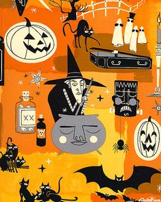 This Alexander Henry fabric for Halloween is awesome. Love the art!