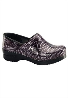 ONLY AVAILABLE AT SCRUBS & BEYOND!!  Dansko Charcoal Groove print nursing clog.  Cool!!