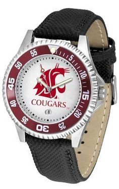 Washington State Cougars Suntime Competitor Poly/Leather Band Watch - NCAA College Athletics by SunTime. $58.95. Poly/Leather Band. Officially Licensed Washington State Cougars Men's Leather Sports Watch. Adjustable Band. Men. Date Calendar And Rotating Bezel. Quality Timepiece for your favorite fan!