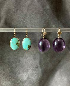 """Amy on Instagram: """"Turquiose and amethyst #earrings #golddropearrings #gemstones #turquoise #amethyst #goldjewelry #amykreilingjewelry"""""""
