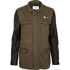 Men,For that casual stylish wkends: Green leather look sleeve field jacket Winter Warmers, Field Jacket, Green Leather, Military Jacket, Mens Fashion, Stylish, My Style, Casual, Sleeves
