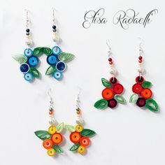 paper quilled earrings di ElysianMeraki su Etsy