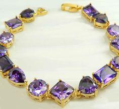 Yellow Gold Plated Bracelet 7in Purple Amethyst Gemstone Hearts 9k Women Girl #Unbranded #Chainbracelet