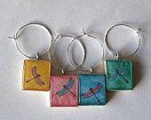Dragonfly Glass Tile Wine Charms Set of 5. $12.95, via Etsy.