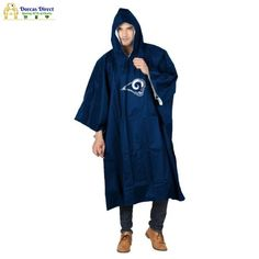 """Don't be rained out at your next outdoor event with The Northwest Company deluxe team rain poncho. Adult size poncho measures 44"""" in height and 49"""" in width and is made of durable PEVA weather-proof construction. A combination of the plastic snaps that close securely at your sides with the adjustable drawstring hood work to keep you dry. Your favorite team logo is emblazoned on the front center. Includes a drawstring mesh reusable carrying pouch making this easy to carry with you wherever you go Mlb Team Logos, Team Logo Design, Rain Poncho, Atlanta Braves, Nfl, Rain Jacket, Windbreaker, Pouch, Coat"""