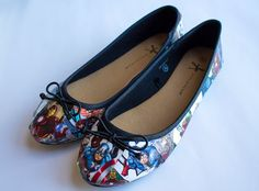 Pre-made Marvel Avengers customised comic book shoes (UK size 5)