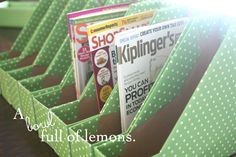 I have TONS of magazines I hate to throw out, but magazine boxes are spendy. ~KT A Step-by-Step Tute: {How to make Magazine storage boxes… YOURSELF! Craft Room Storage, Craft Organization, Classroom Organization, Storage Boxes, Paper Storage, Mail Storage, Craft Rooms, Garage Storage, Storage Ideas